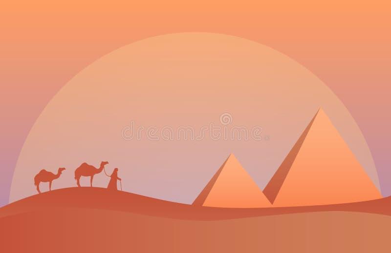 Vektorillustration av landskapet i savann, kamelhusvagn på pyramider i solnedgång Scenisk sikt av öknen med naturen royaltyfri illustrationer