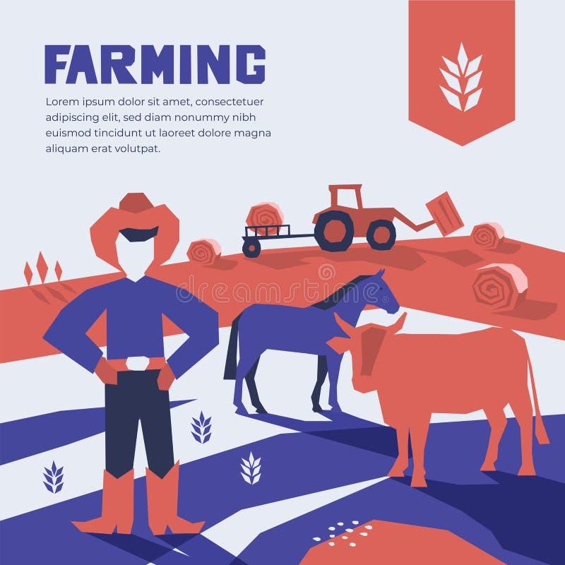 Vektorillustration av lantbruket Design med åkerbrukt och att bruka, boskap vektor illustrationer