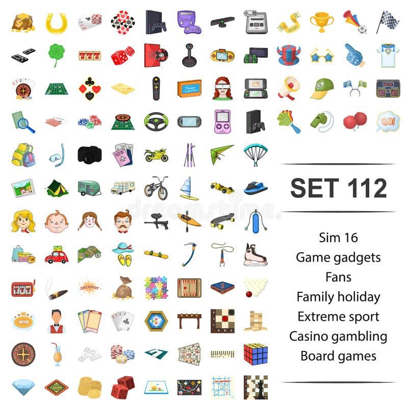 Vektorillustration av leken, grej, fan, familj, extrem sportkasino för ferie som spelar brädesymbolsuppsättningen stock illustrationer