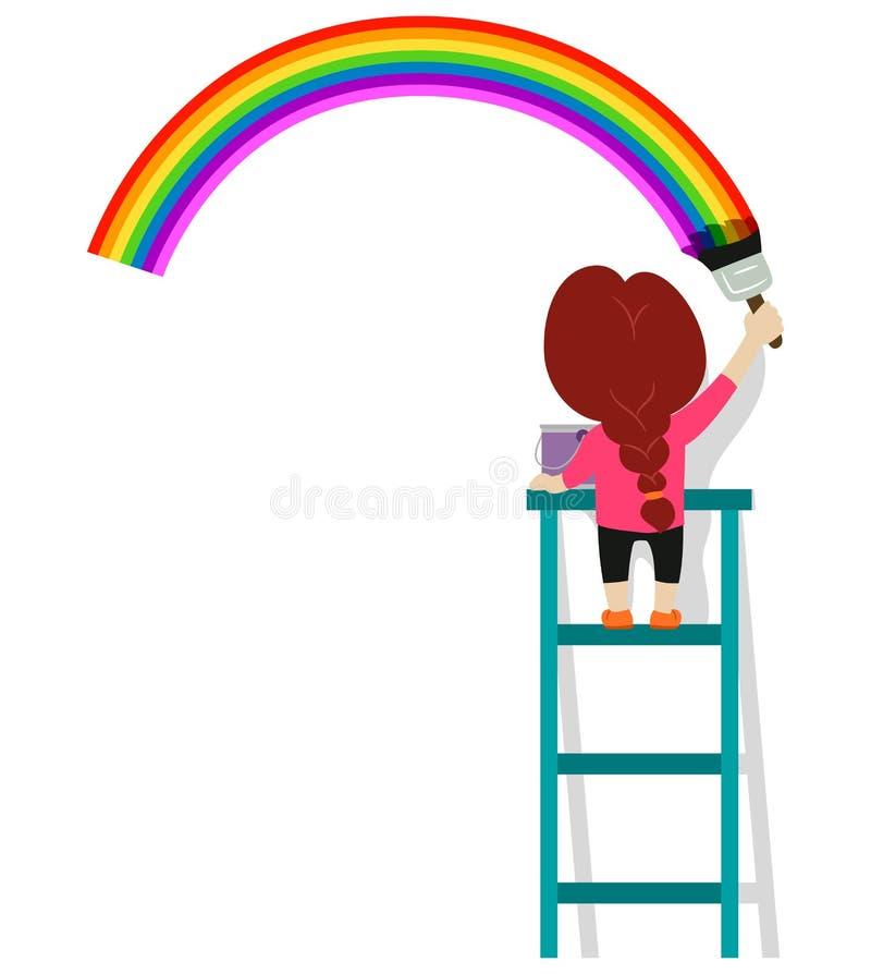 Vektorillustration av lilla flickan som målar en regnbåge på väggen stock illustrationer