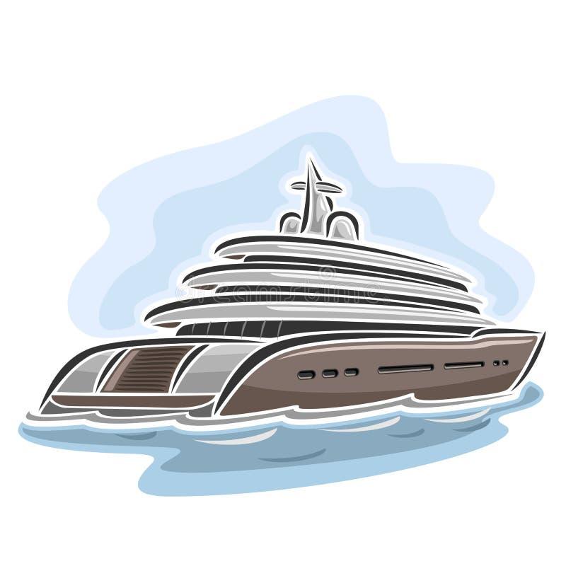 Vektorillustration av logoen för mega yacht stock illustrationer