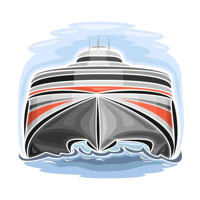 Vektorillustration av logoen för snabb katamaran för bilfärja royaltyfri illustrationer