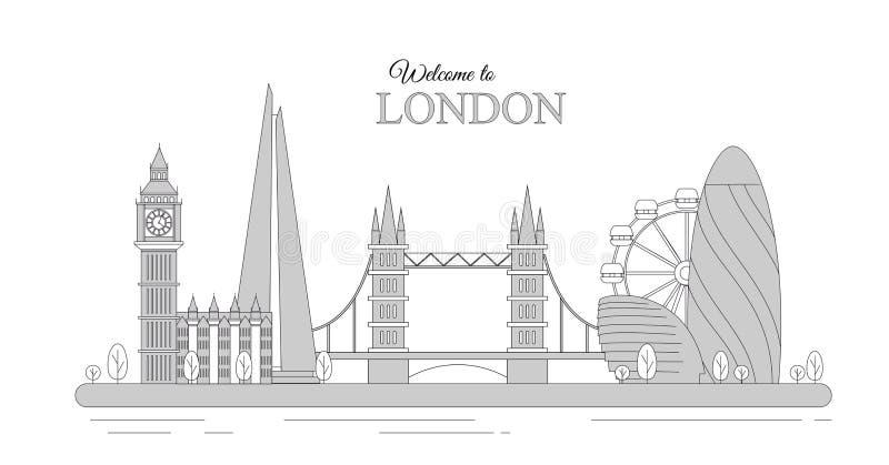 Vektorillustration av London cityscape som infographic turist- sikt av Storbritannien, välkomnande till Förenade kungariket royaltyfri illustrationer