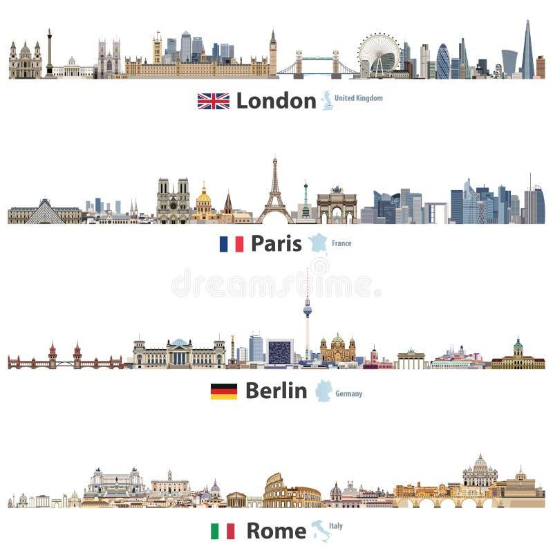 Vektorillustration av London, Paris, Berlin och Rome stadshorisonter som isoleras på vit bakgrund Flaggor och översikter av Fören vektor illustrationer