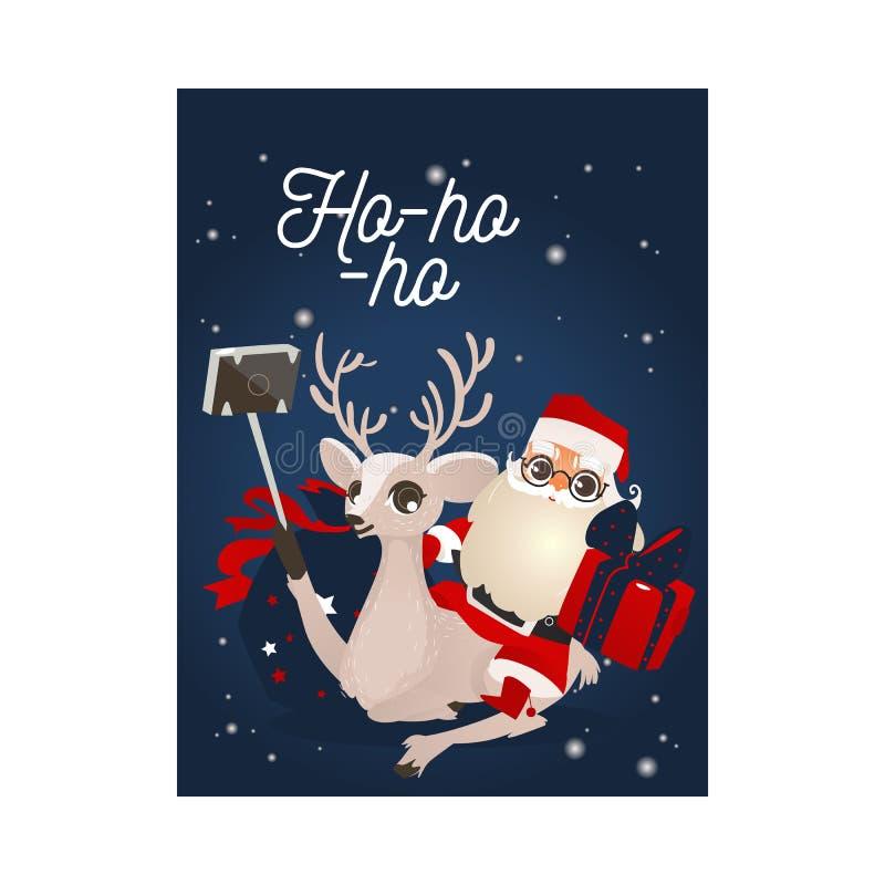 Vektorillustration av lyckönskankort för jul och för nytt år med renen och Santa Claus som gör selfie stock illustrationer