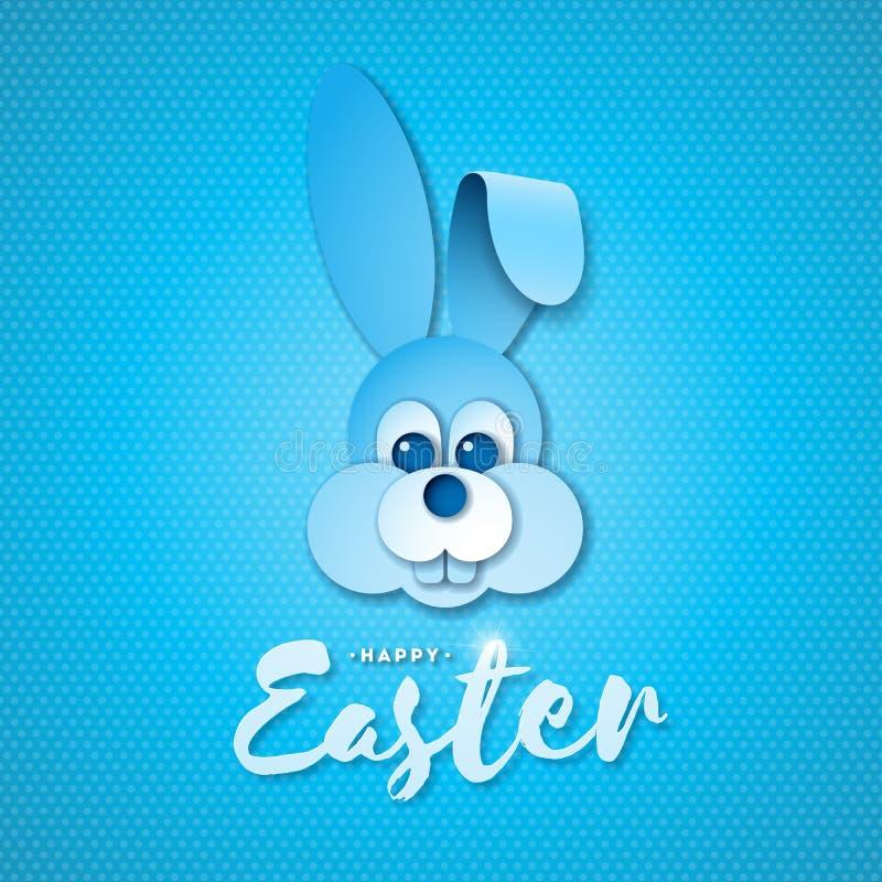 Vektorillustration av lycklig påskferie med trevlig typografi för kaninframsida- och handbokstäver på blå bakgrund royaltyfri illustrationer