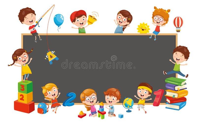 Vektorillustration av lyckliga barn stock illustrationer