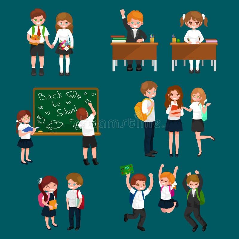 Vektorillustration av lyckliga barn som gör olika roliga aktiviteter på skolan som målning och att studera och att lära och vektor illustrationer