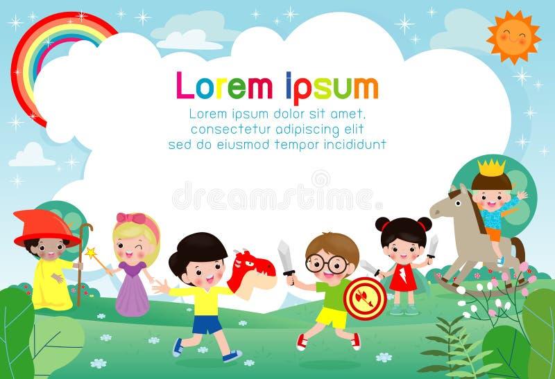 Vektorillustration av lyckliga barn som spelar i lekplats royaltyfri illustrationer