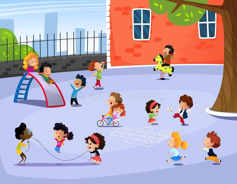 Vektorillustration av lyckliga barn som spelar i lekplats vektor illustrationer