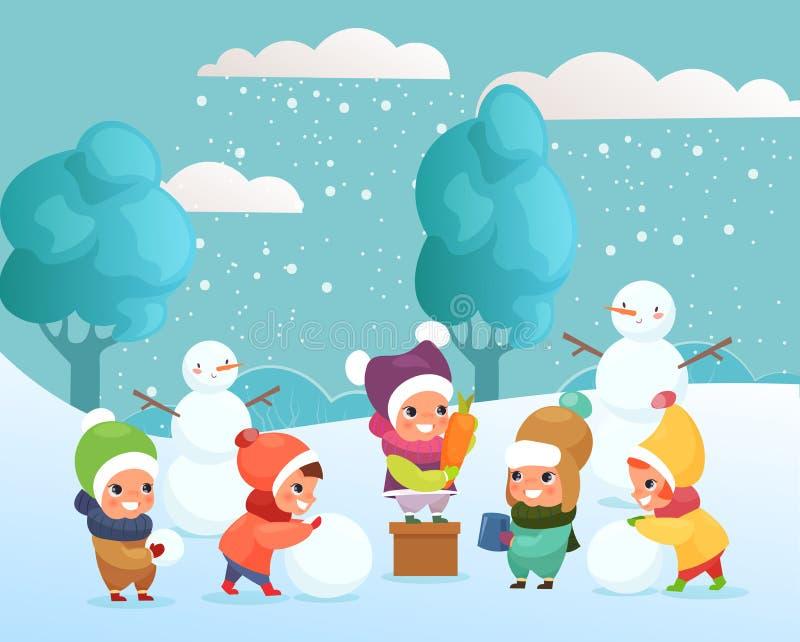 Vektorillustration av lyckliga roliga och gulliga ungar som spelar med snö som utanför gör snögubben barn som spelar, vinter vektor illustrationer