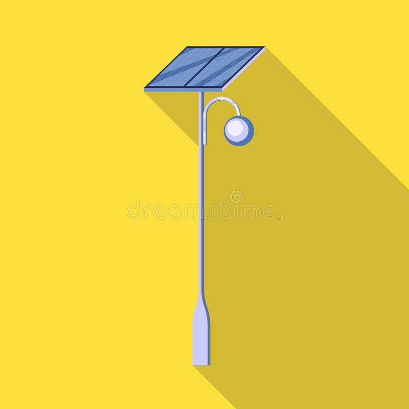 Vektorillustration av lyktstolpen och det sol- symbolet Samlingen av lyktstolpen och alternativet lagerför symbolet för rengöring stock illustrationer