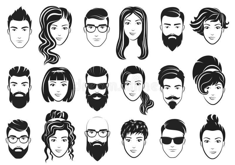 Vektorillustration av män med stilfulla skägg och kvinnor med härligt hår Manlig och kvinnlig hairsylesuppsättning vektor illustrationer