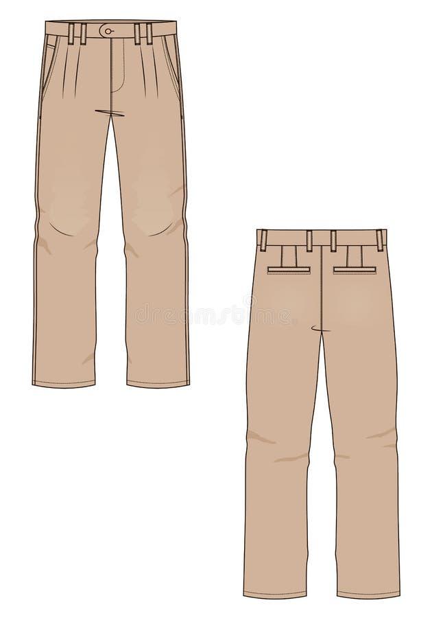 Vektorillustration av mäns jeans tillbaka framdel vektor illustrationer