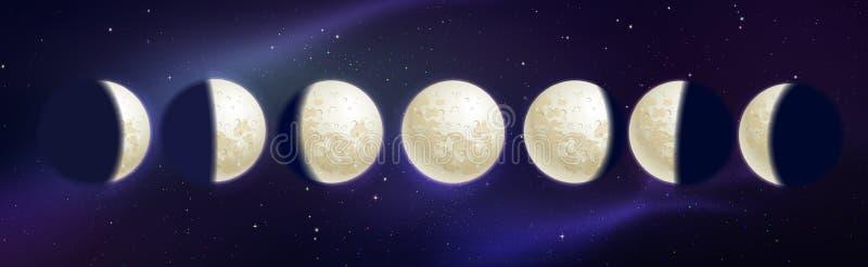 Vektorillustration av månefaser vektor illustrationer