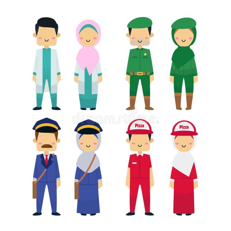 Vektorillustration av mångfald för funktionsdugligt folk med vit bakgrund stock illustrationer