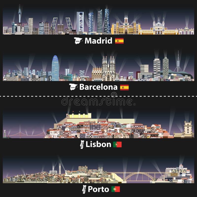 Vektorillustration av Madrid, Barcelona, Lissabon och Porto stadshorisonter på natten med ljusa ljus Översikter och flaggor av Sp royaltyfri illustrationer