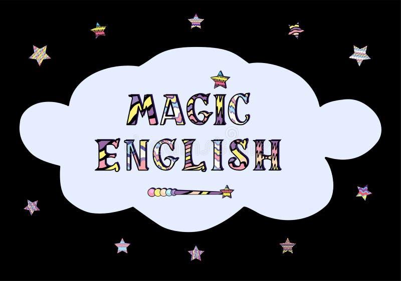 Vektorillustration av magiskt engelska för ord i felik stil med trollspöet och stjärnor stock illustrationer