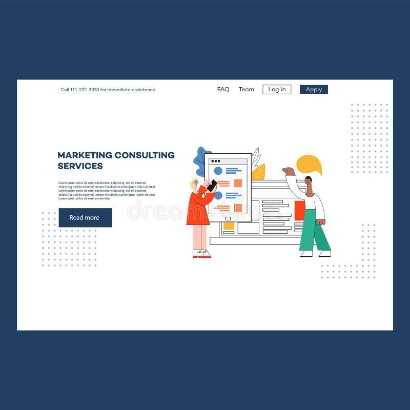 Vektorillustration av mallen för websitesidadesign för att marknadsföra konsulterande service stock illustrationer