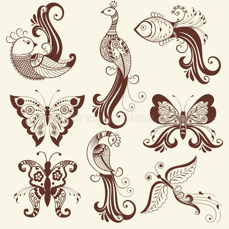 Vektorillustration av mehndiprydnaden Traditionell indisk stil, dekorativa blom- beståndsdelar för hennatatuering, klistermärkear stock illustrationer