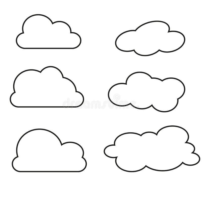Vektorillustration av molnsamlingen Gör linjer symboler tunnare royaltyfri illustrationer