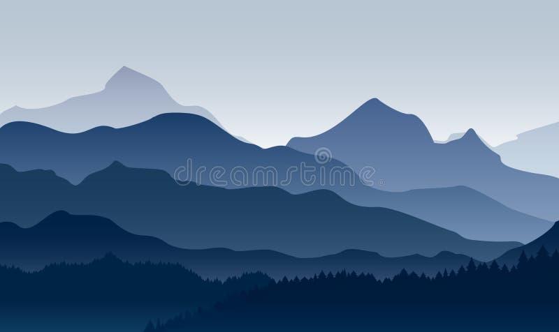 Vektorillustration av morgonen i berg Mystiskt landskap av skogen, mountaings i dimma i blåa färger, lägenhet stock illustrationer