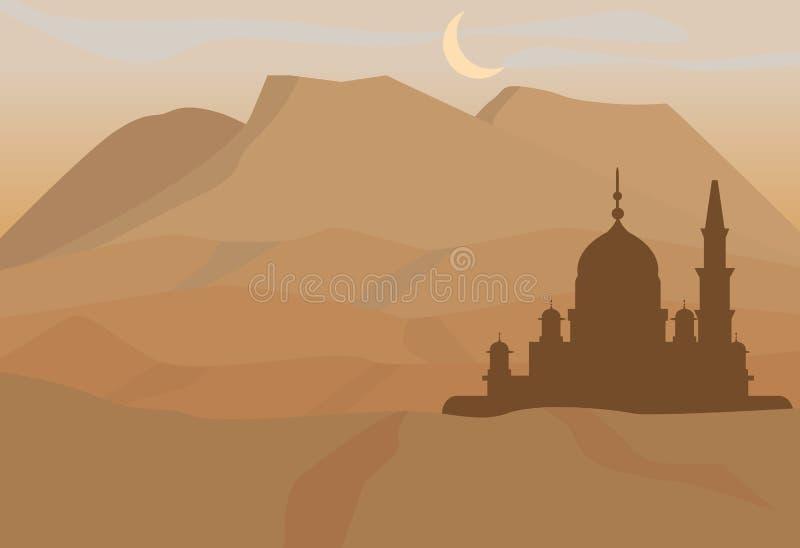 Vektorillustration av moskén på berget vektor illustrationer