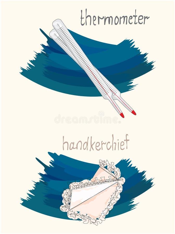 Vektorillustration av näsduken och termometern royaltyfri illustrationer
