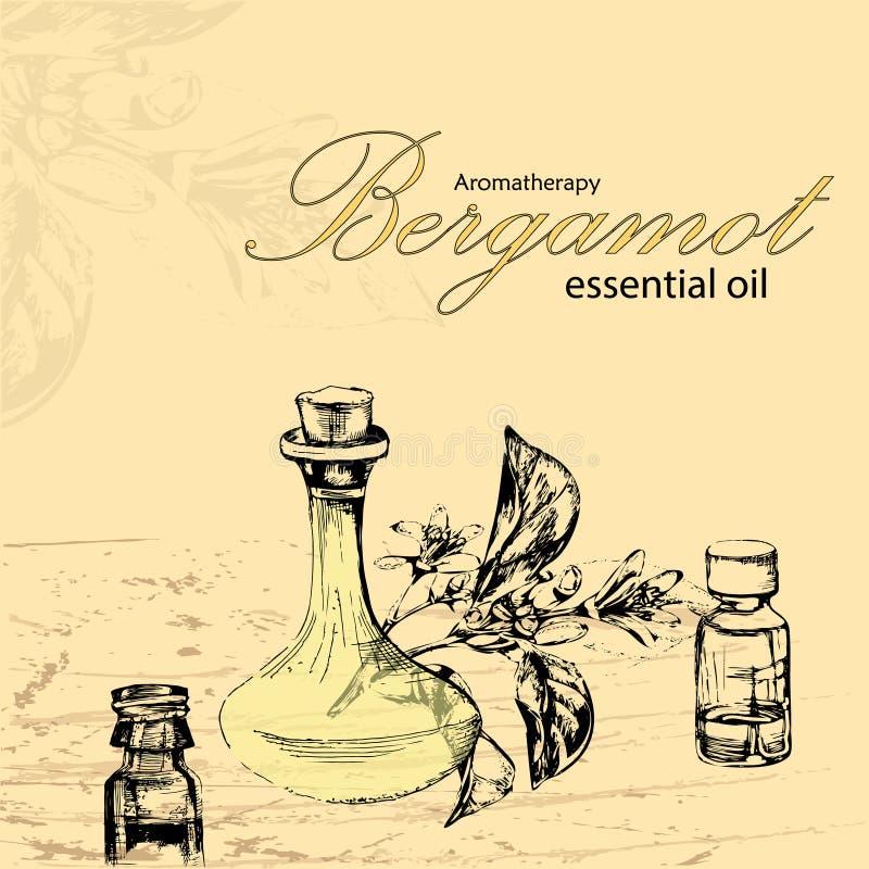 Vektorillustration av nödvändig olja av bergamoten royaltyfri illustrationer