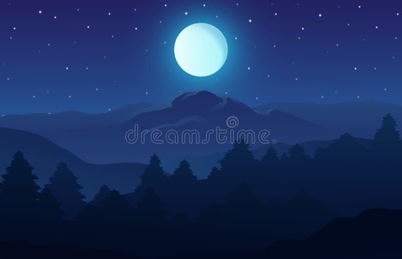 Vektorillustration av nattetidnaturlandskapet i skogen med ett berg, fullmånen och en stjärnklar himmel royaltyfri illustrationer