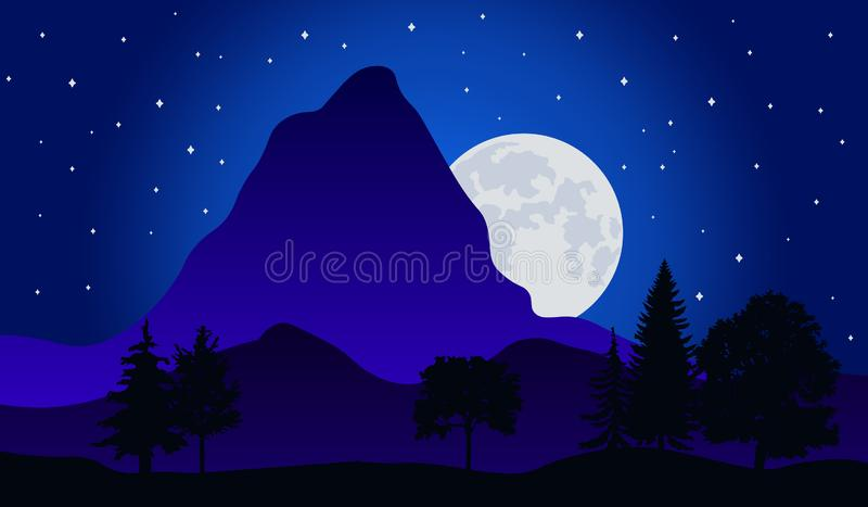 Vektorillustration av nattetidnaturlandskapet i skogen med ett berg, fullm?nen och en stj?rnklar himmel stock illustrationer