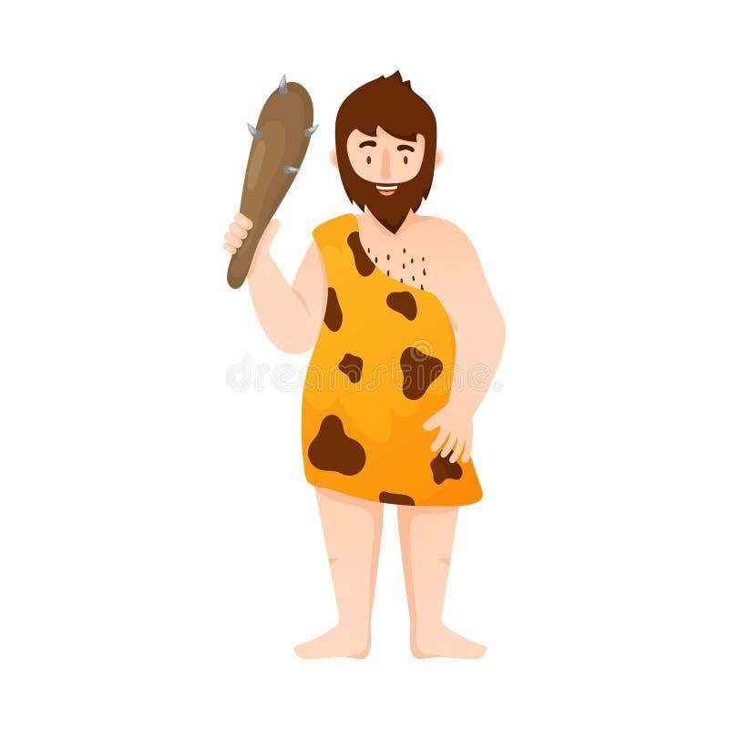 Vektorillustration av neanderthal- och mansymbolet Samling av neanderthalen och förhistorisk vektorsymbol för materiel royaltyfri illustrationer