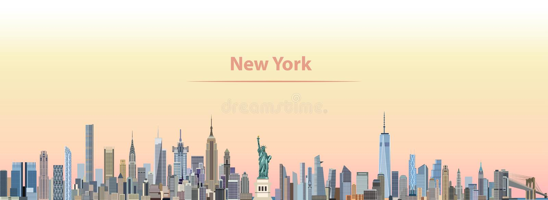 Vektorillustration av New York City horisont på soluppgång stock illustrationer