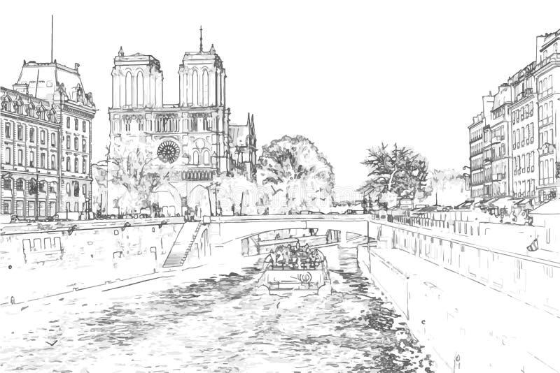 Vektorillustration av Notre Dame de Paris royaltyfria foton