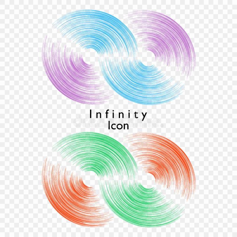 Vektorillustration av oändligheten på genomskinlig bakgrund Mall för logoen, symbol, emblem Designbeståndsdel för affisch royaltyfri illustrationer