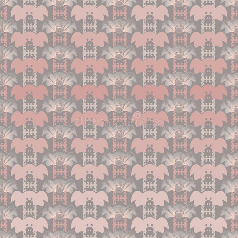 Vektorillustration av olika skuggor av rosa och gråa gladlynta svinframsidor vektor illustrationer