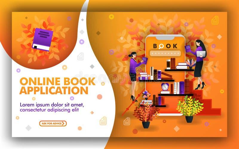 Vektorillustration av online-bokapplikationen teknologihjälp att finna de bästa lärresurserna ställe som studerar och som läser b royaltyfri illustrationer