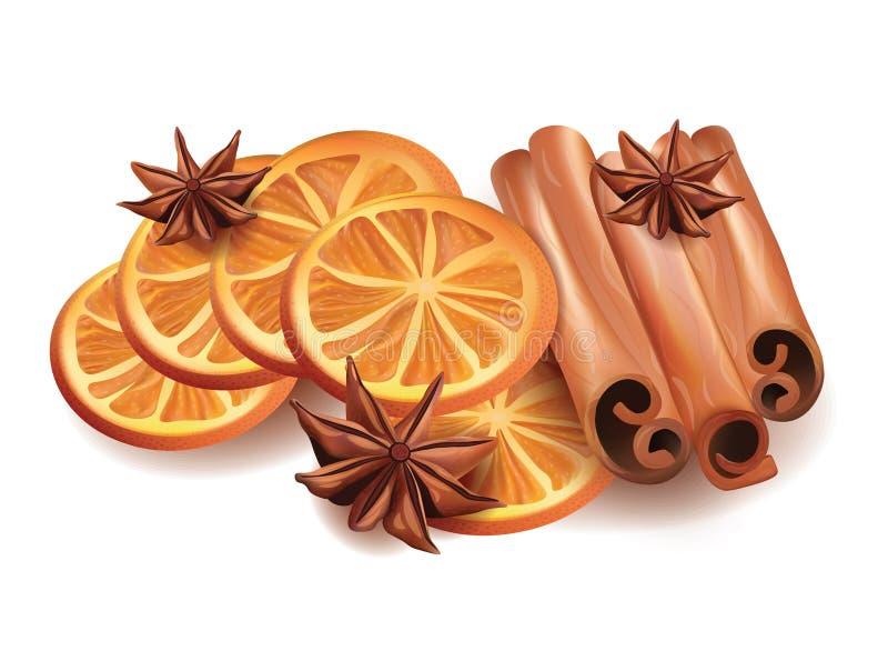 Vektorillustration av orange skivor, kanelbruna pinnar och stjärnan Anice på vit bakgrund stock illustrationer