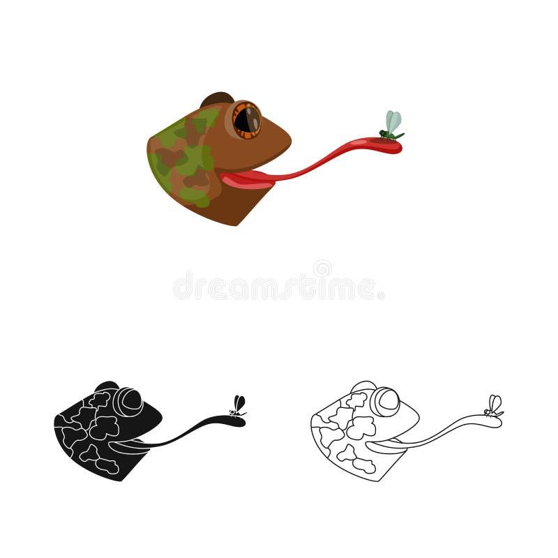 Vektorillustration av padda- och huvudsymbolet Samling av padda- och stickylmaterielsymbolet f?r reng?ringsduk vektor illustrationer