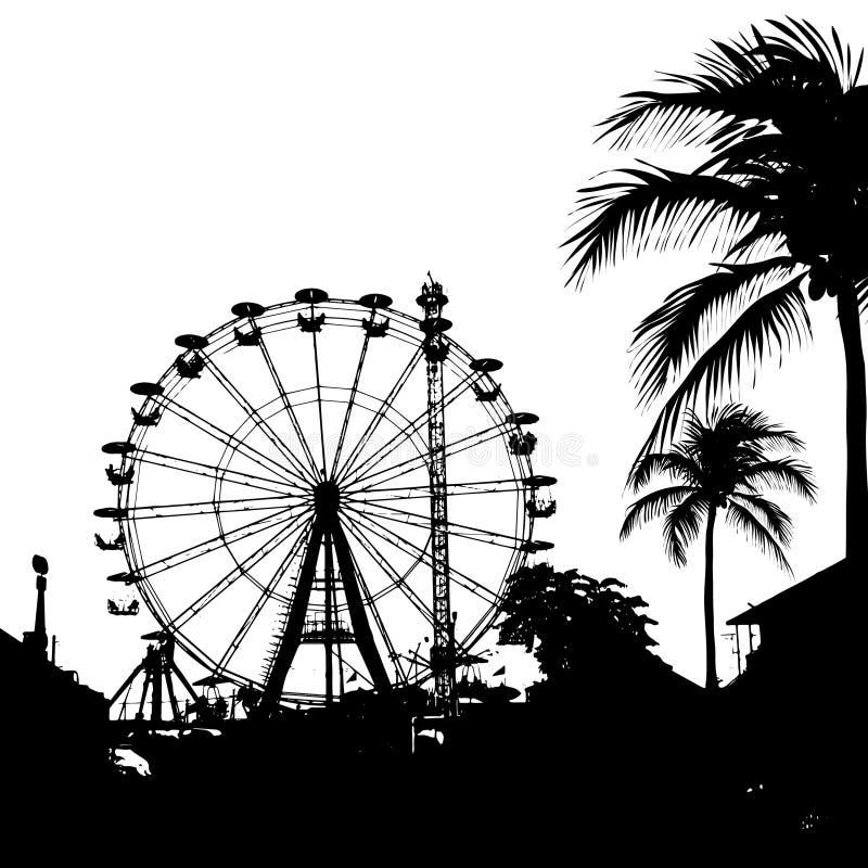 Vektorillustration av pariserhjulen och palmträdet vektor illustrationer