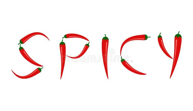 Vektorillustration av peppar för röd chili i 'KRYDDIG 'text stock illustrationer