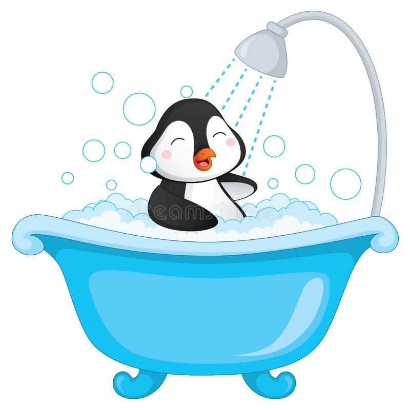 Vektorillustration av pingvinbadningen stock illustrationer