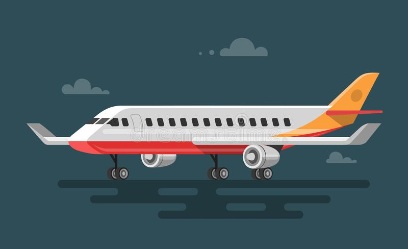 Vektorillustration av plant flygplan royaltyfri illustrationer