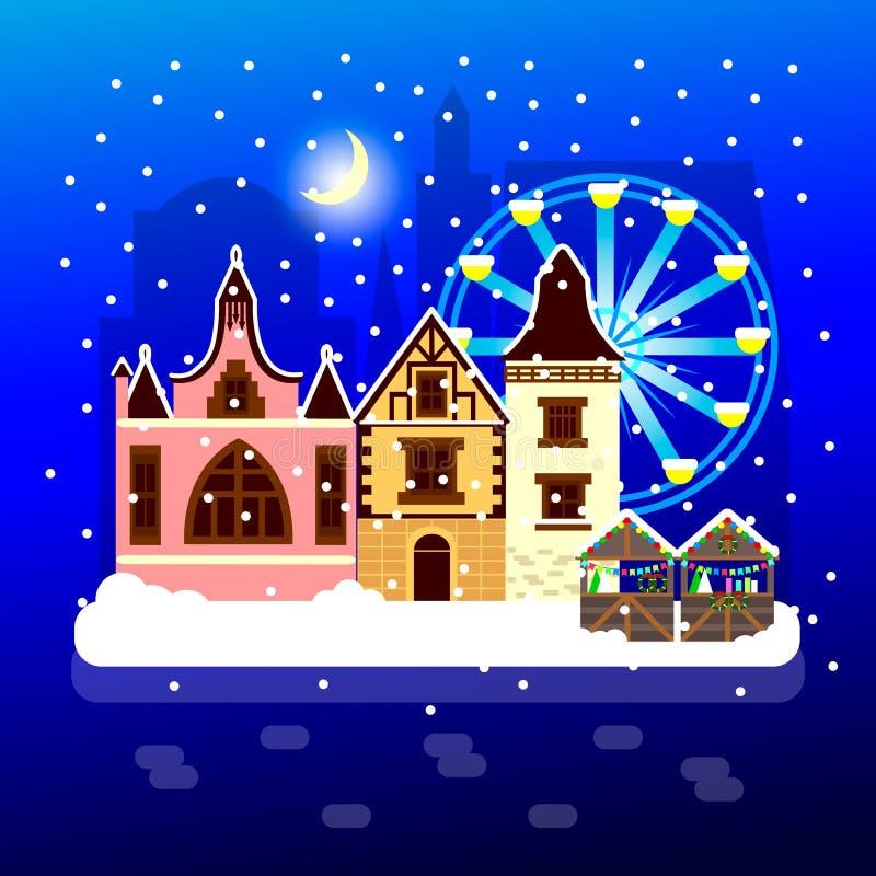 Vektorillustration av platsen för stad för nattvintermånsken royaltyfri illustrationer