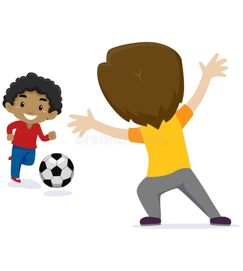 Vektorillustration av pojken för två lilla ungar som spelar fotboll royaltyfri illustrationer