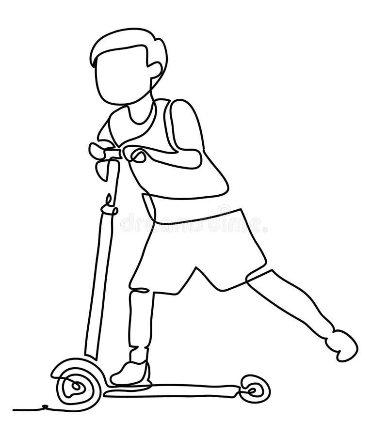 Vektorillustration av pojken som spelar en sparkcykel bakgrund isolerad white Fortlöpande linje teckning Vektormonokrom stock illustrationer