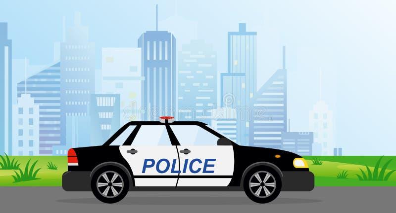 Vektorillustration av polisbensindrivna bilen på modern stadsbakgrund i plan stil stock illustrationer