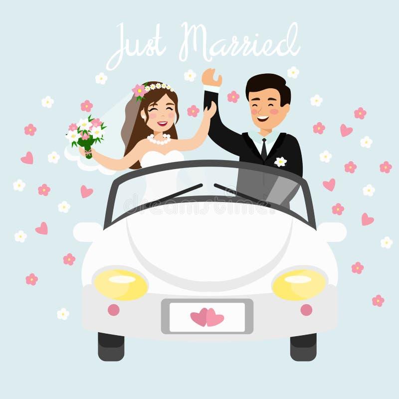 Vektorillustration av precis gifta paret som kör en vit bil i bröllopsresatur Bröllopbrud och brudgum i lägenhet royaltyfri illustrationer