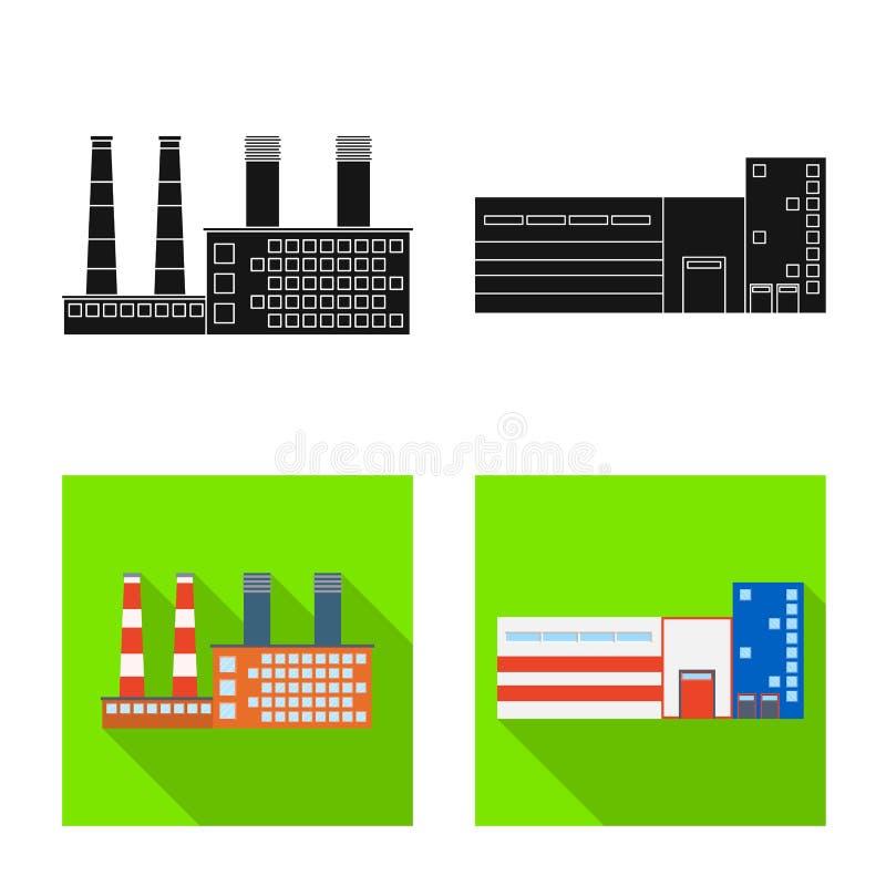 Vektorillustration av produktion- och strukturlogoen r royaltyfri illustrationer