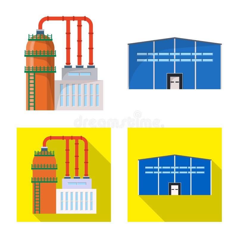 Vektorillustration av produktion- och struktursymbolen Samling av produktion- och teknologimaterielsymbolet f?r reng?ringsduk stock illustrationer